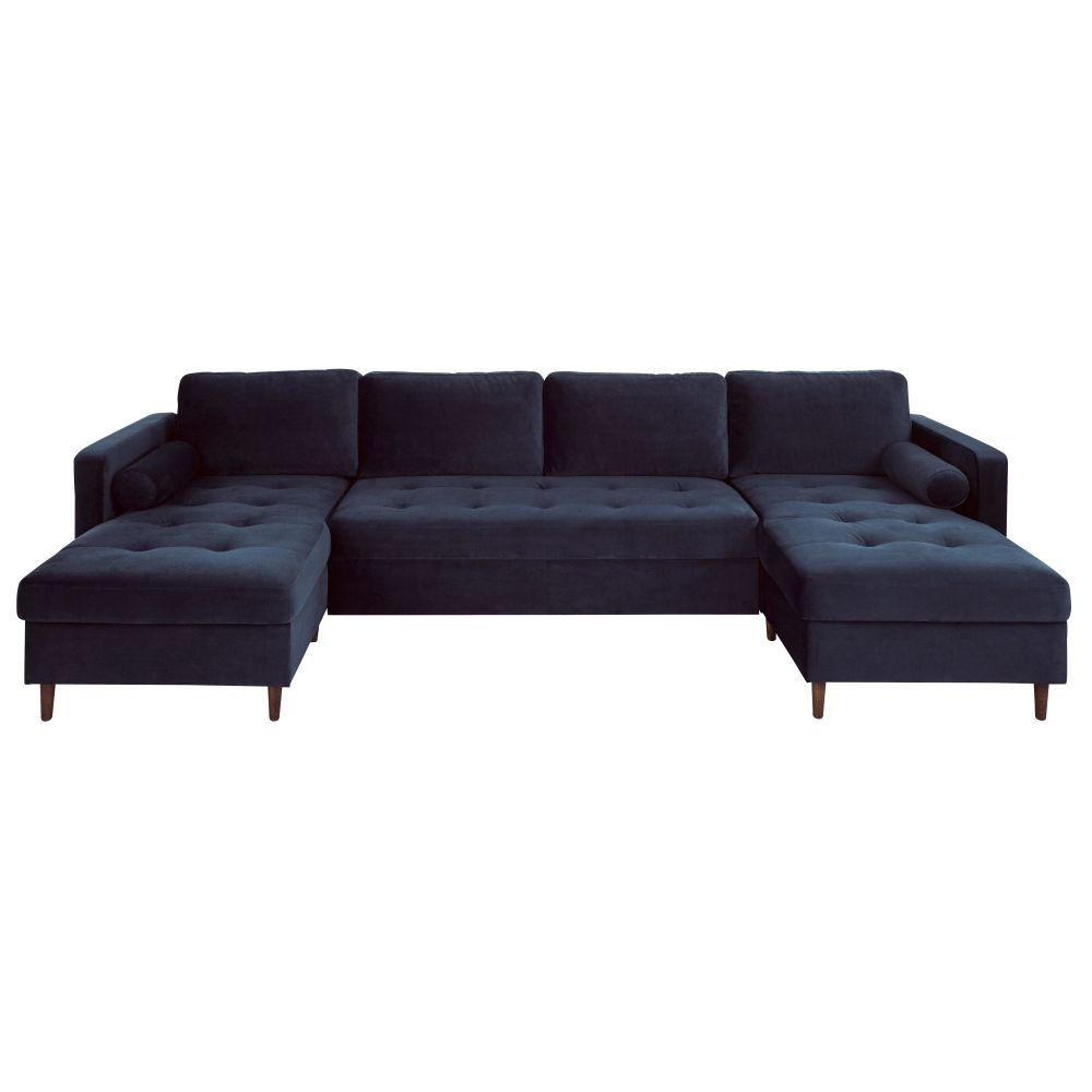 Canapé d'angle convertible 7/9 places en velours bleu nuit