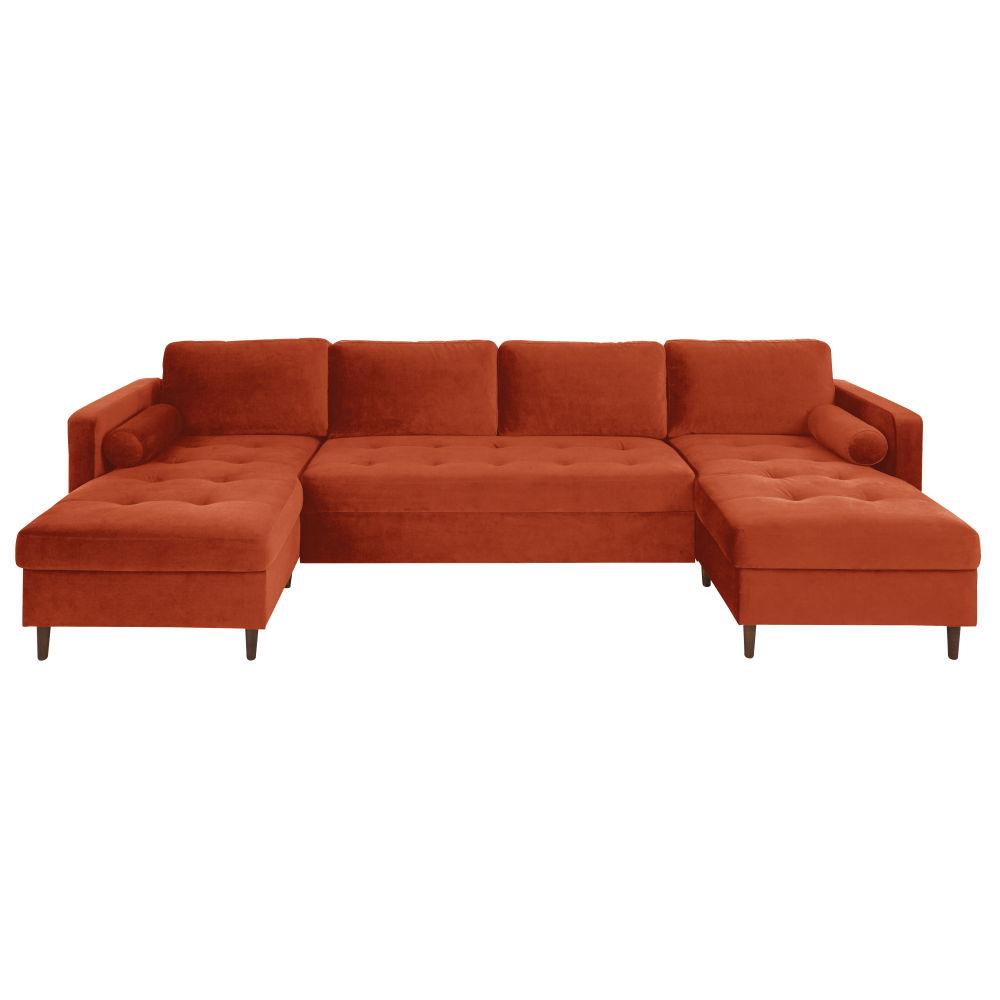 Canapé d'angle 9 places Orange Velours Confort