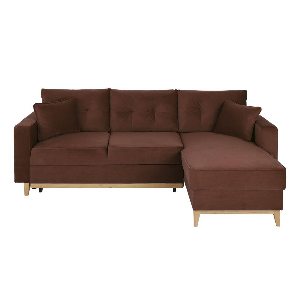 Canapé d'angle convertible style scandinave 4/5 places en velours brun