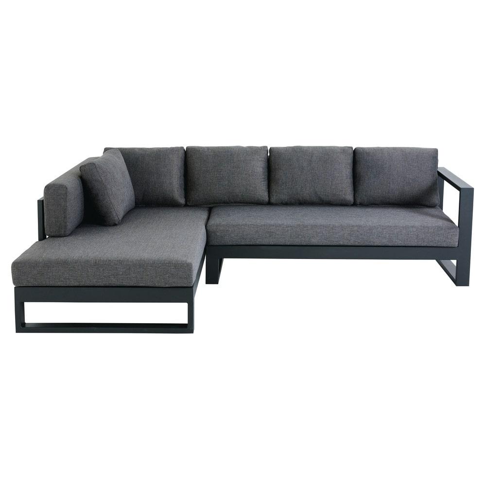 Canapé d'angle de jardin 4/5 places en aluminium noir