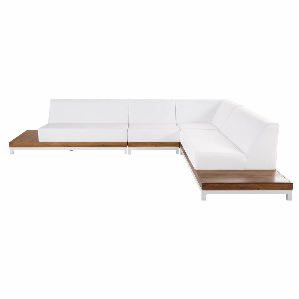 Canapé d'angle de jardin 6 places en aluminium et teck