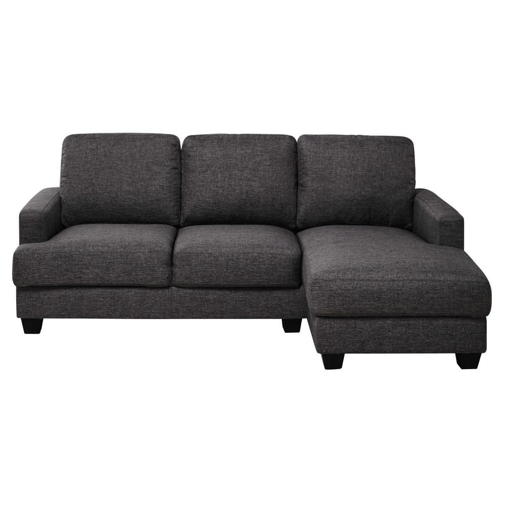 Canapé d'angle droit 3/4 places gris chiné