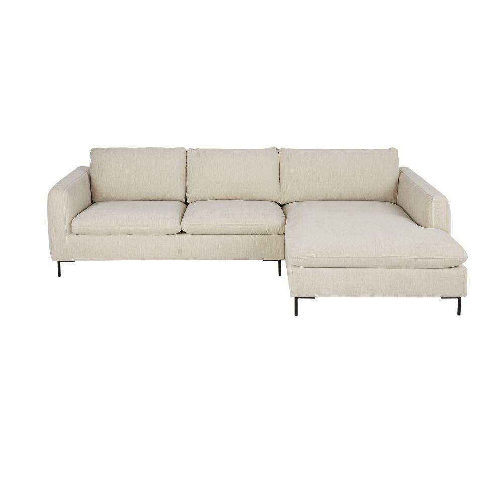 Canapé d'angle droit 4/5 places beige chiné