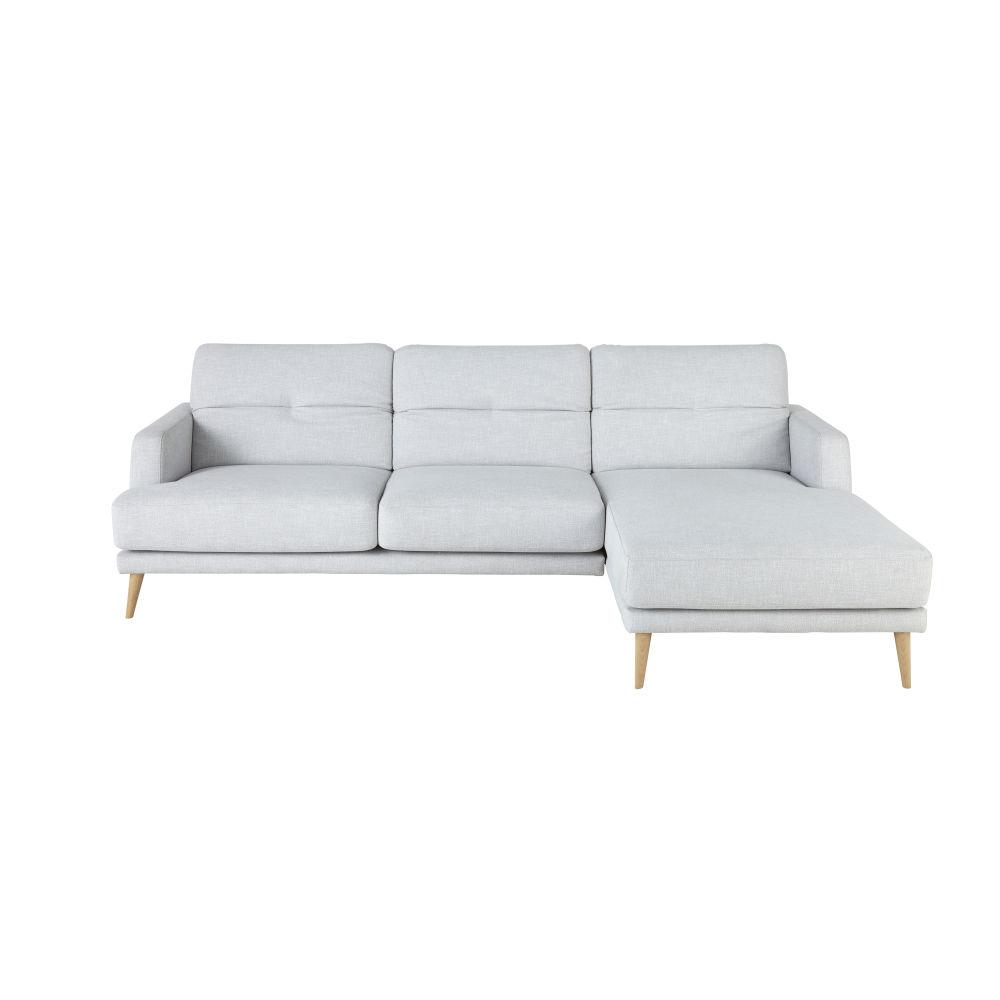 Canapé d'angle droit 4/5 places gris clair