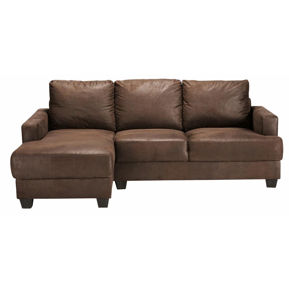 Canapé d'angle gauche 3/4 places en suédine marron