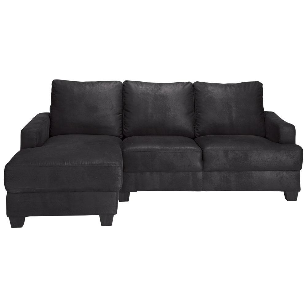 Canapé d'angle gauche 3/4 places en suédine noire