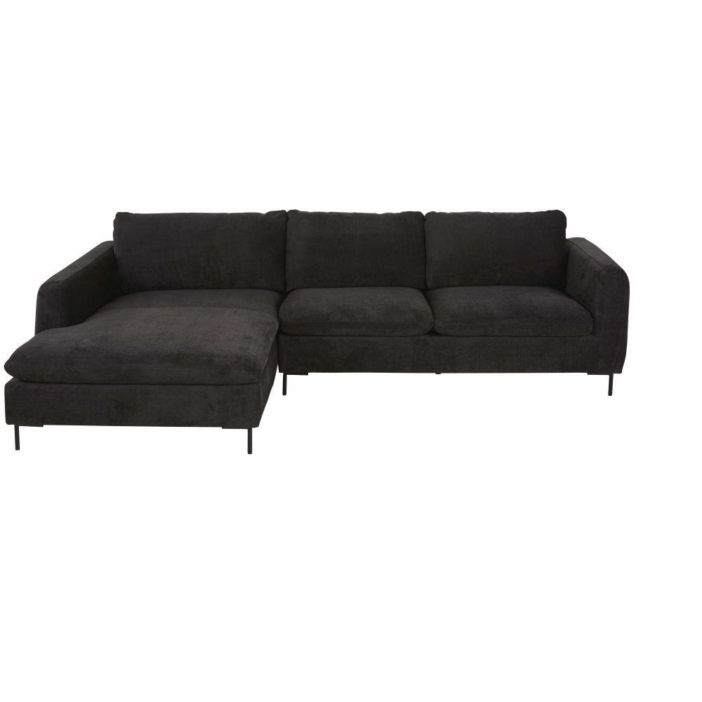 Canapé d'angle gauche 4/5 places noir
