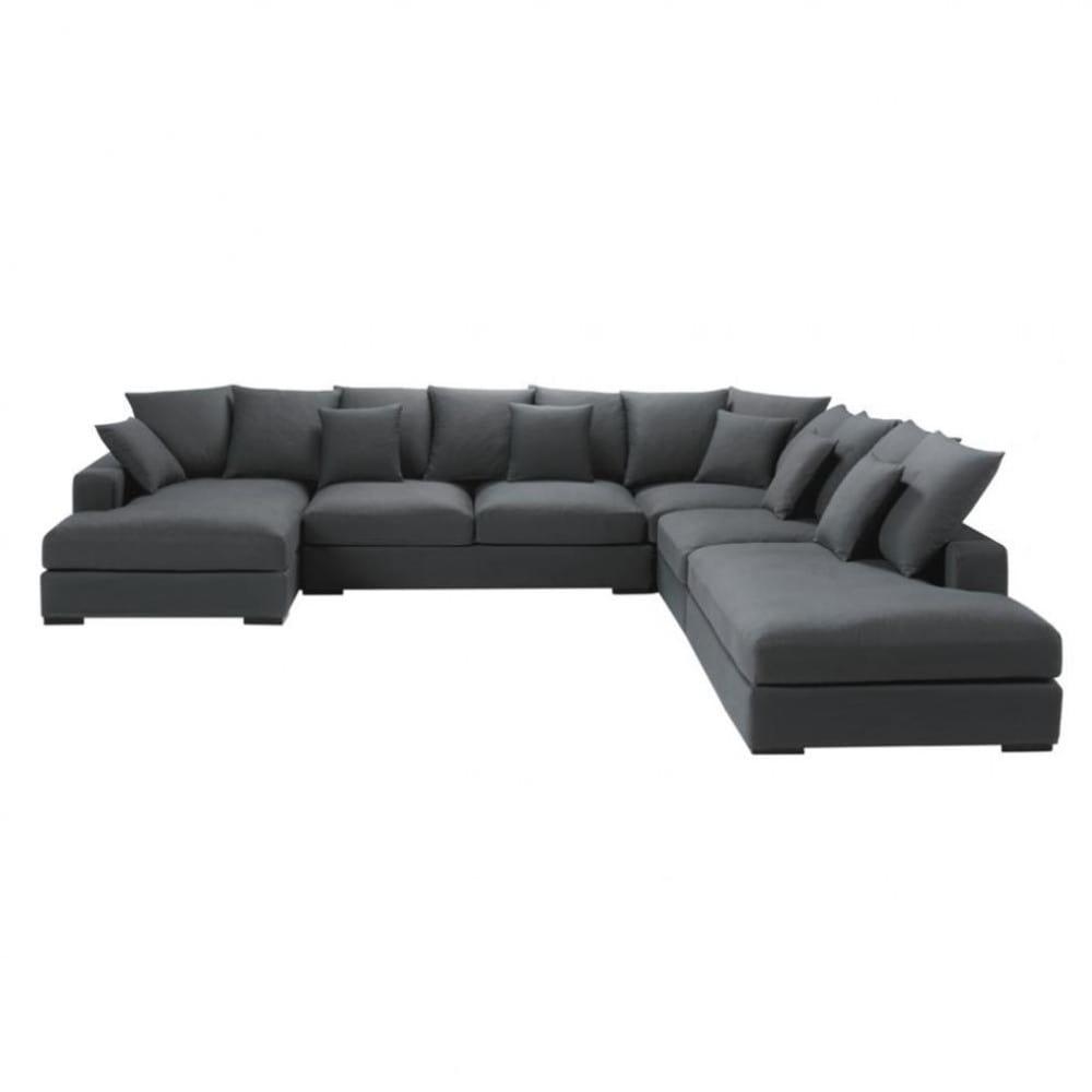 Canapé d'angle modulable 7 places en coton gris