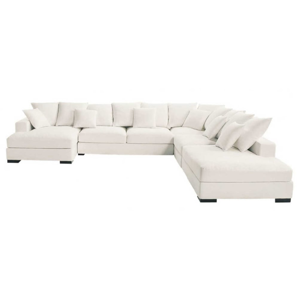 Canapé d'angle 7 places Blanc Tissu Grand