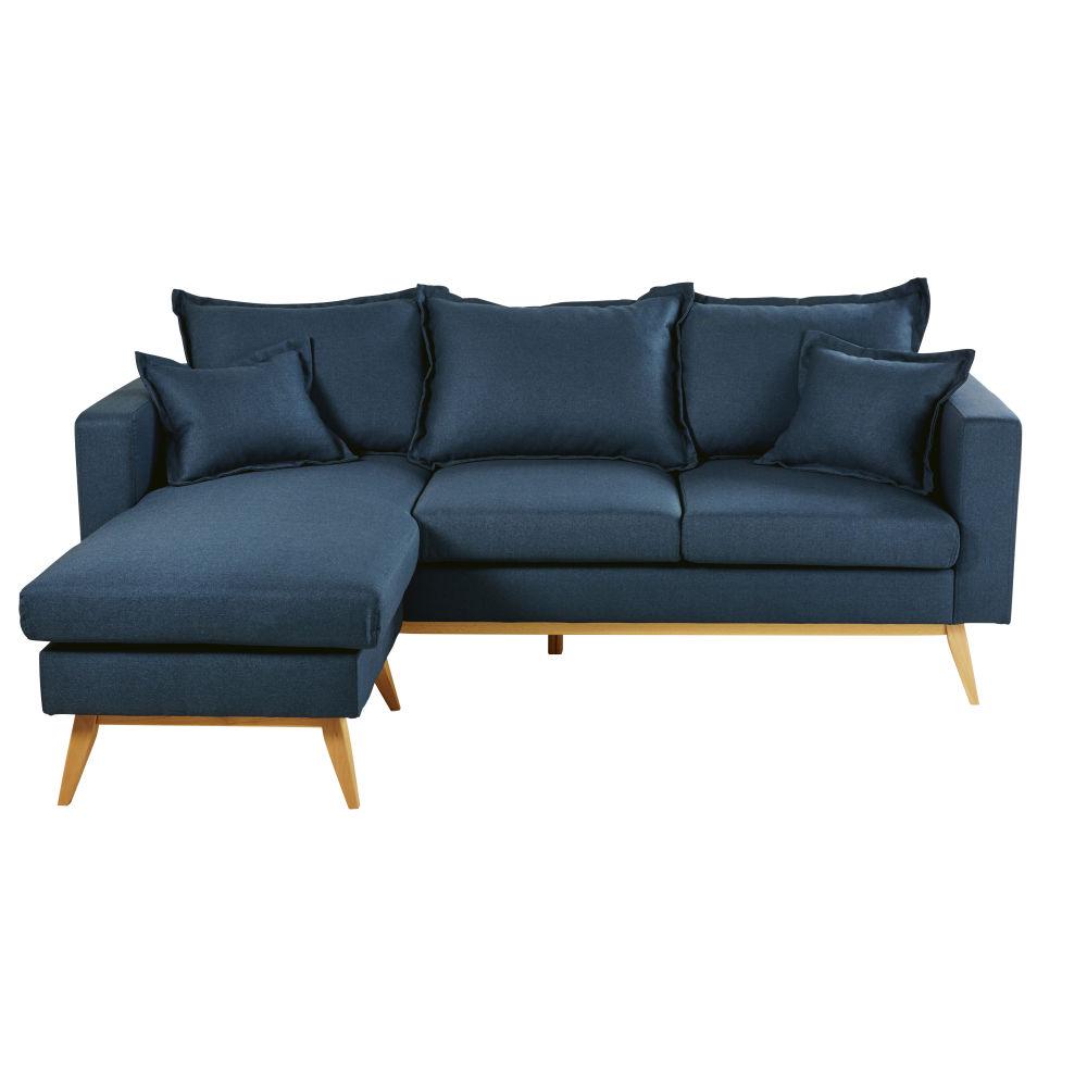 Canapé d'angle style scandinave 4/5 places bleu nuit