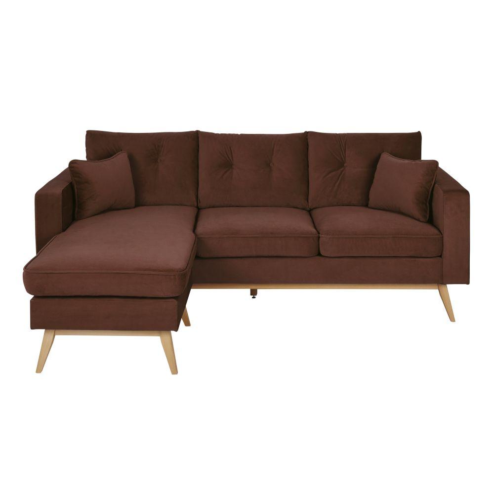 Canapé d'angle style scandinave 4/5 places en velours brun