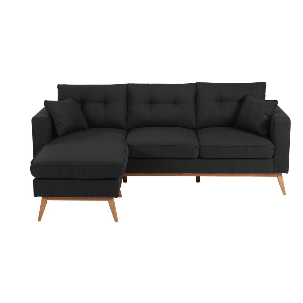 Canapé d'angle style scandinave 4/5 places gris anthracite