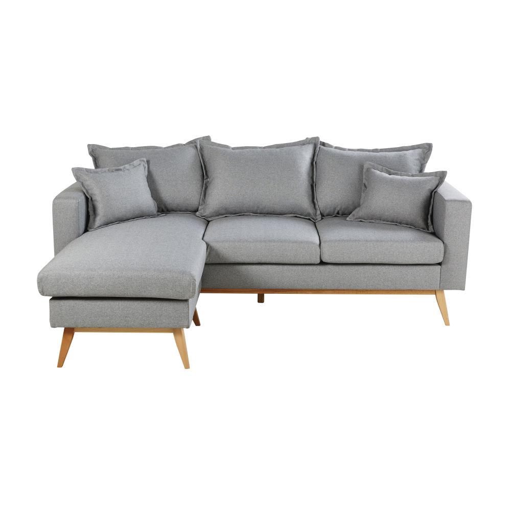 Canapé d'angle style scandinave 4/5 places gris clair