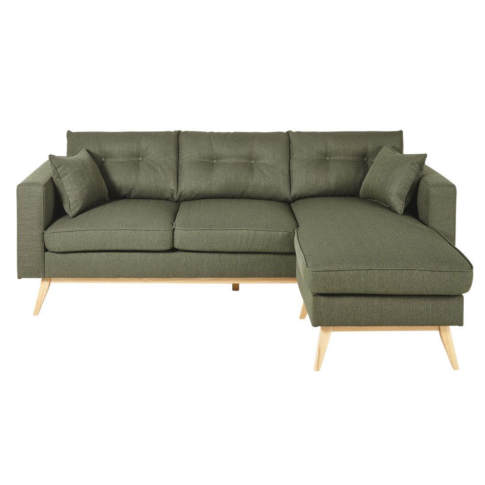 Canapé d'angle style scandinave 4/5 places vert kaki
