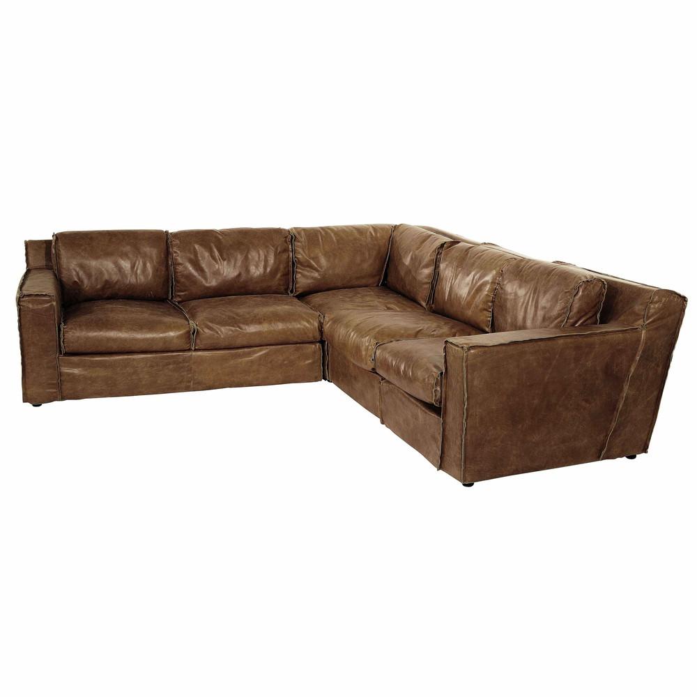 Canapé d'angle 5 places Cuir Vintage Confort