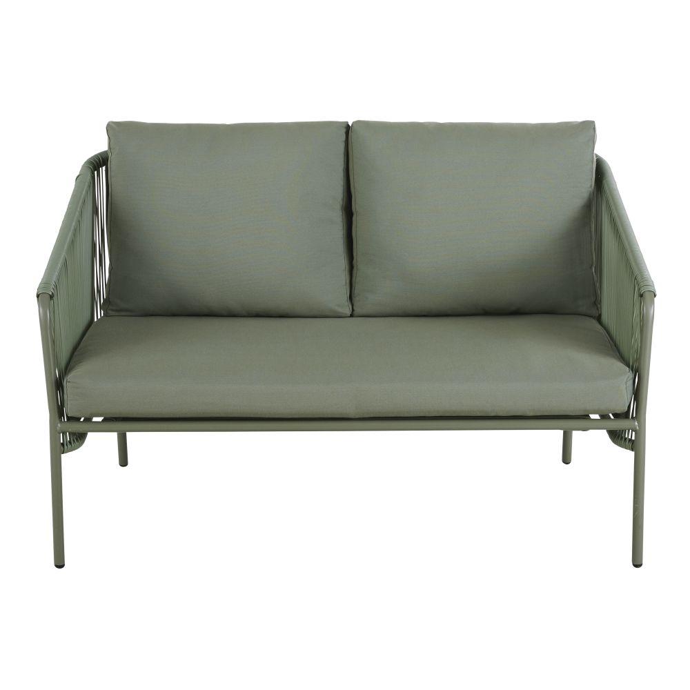 Canapé de jardin 2 places en résine vert kaki et métal noir