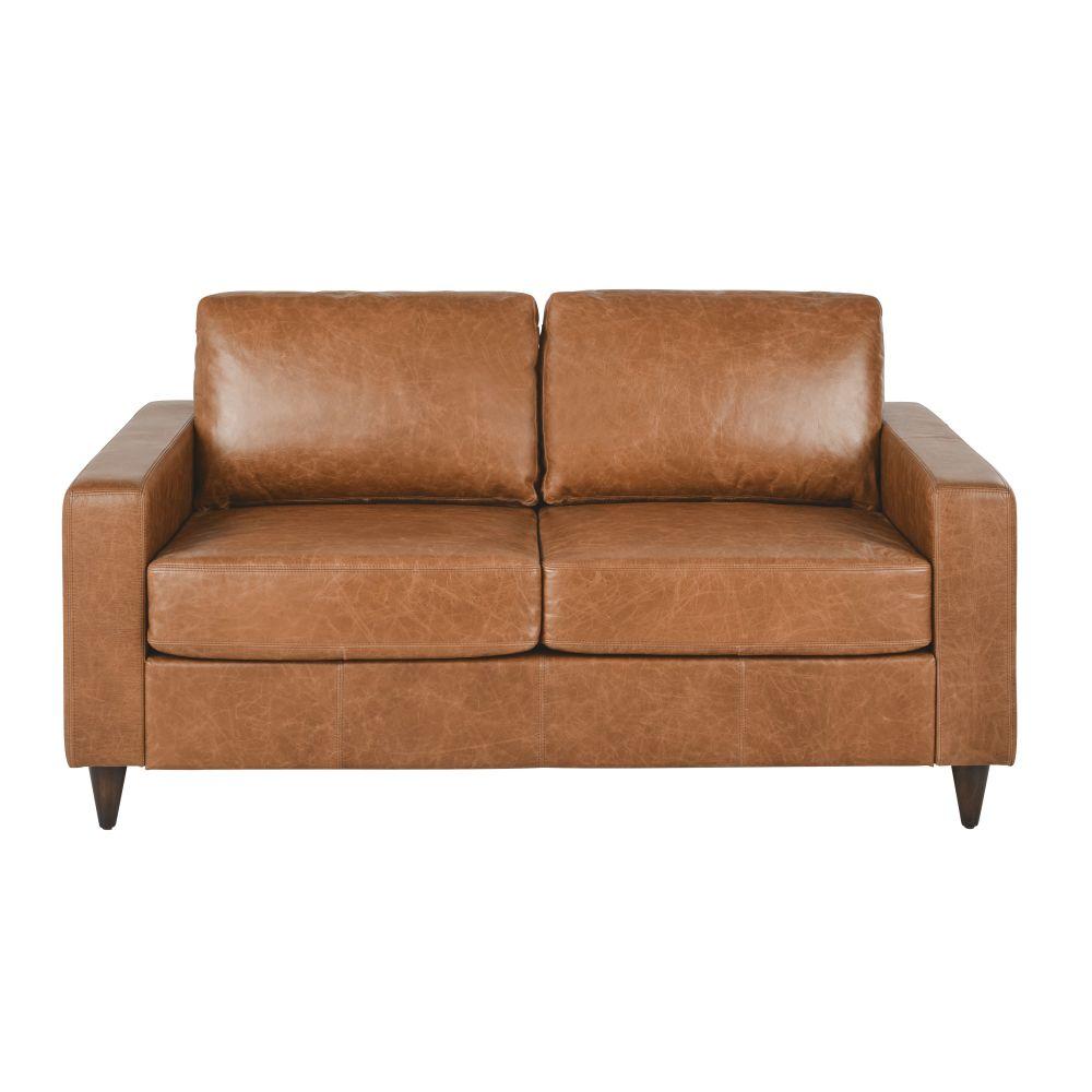 Canapé-lit 2/3 places en cuir camel, matelas 10 cm