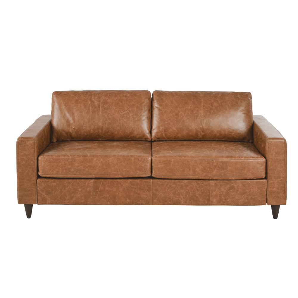 Canapé-lit 3/4 places en cuir camel, matelas 10 cm