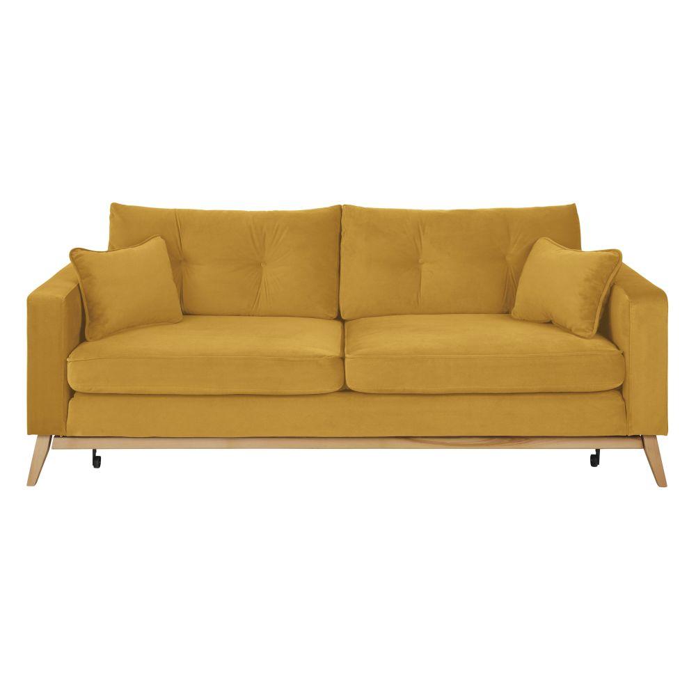 Canapé-lit 3/4 places jaune