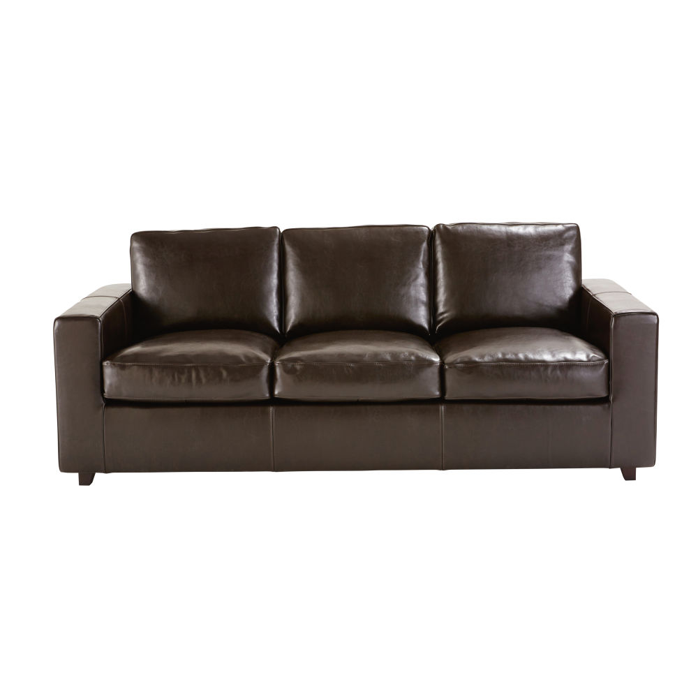 Canapé-lit 3 places en croûte de cuir marron