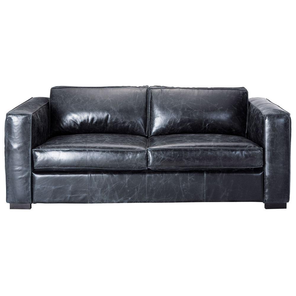 Canapé-lit 3 places en cuir noir