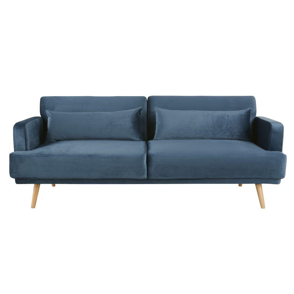 Canapé-lit 3 places en velours bleu foncé