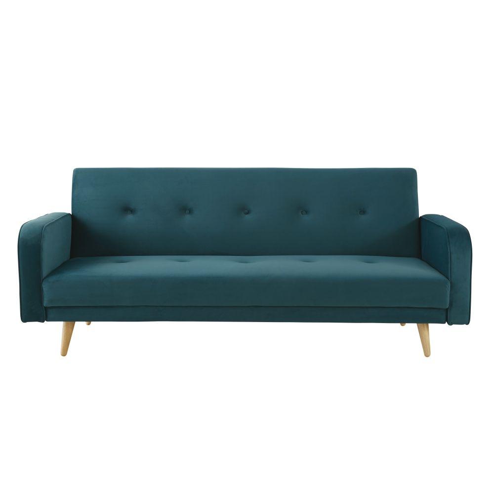 Canapé-lit 3 places en velours bleu pétrole