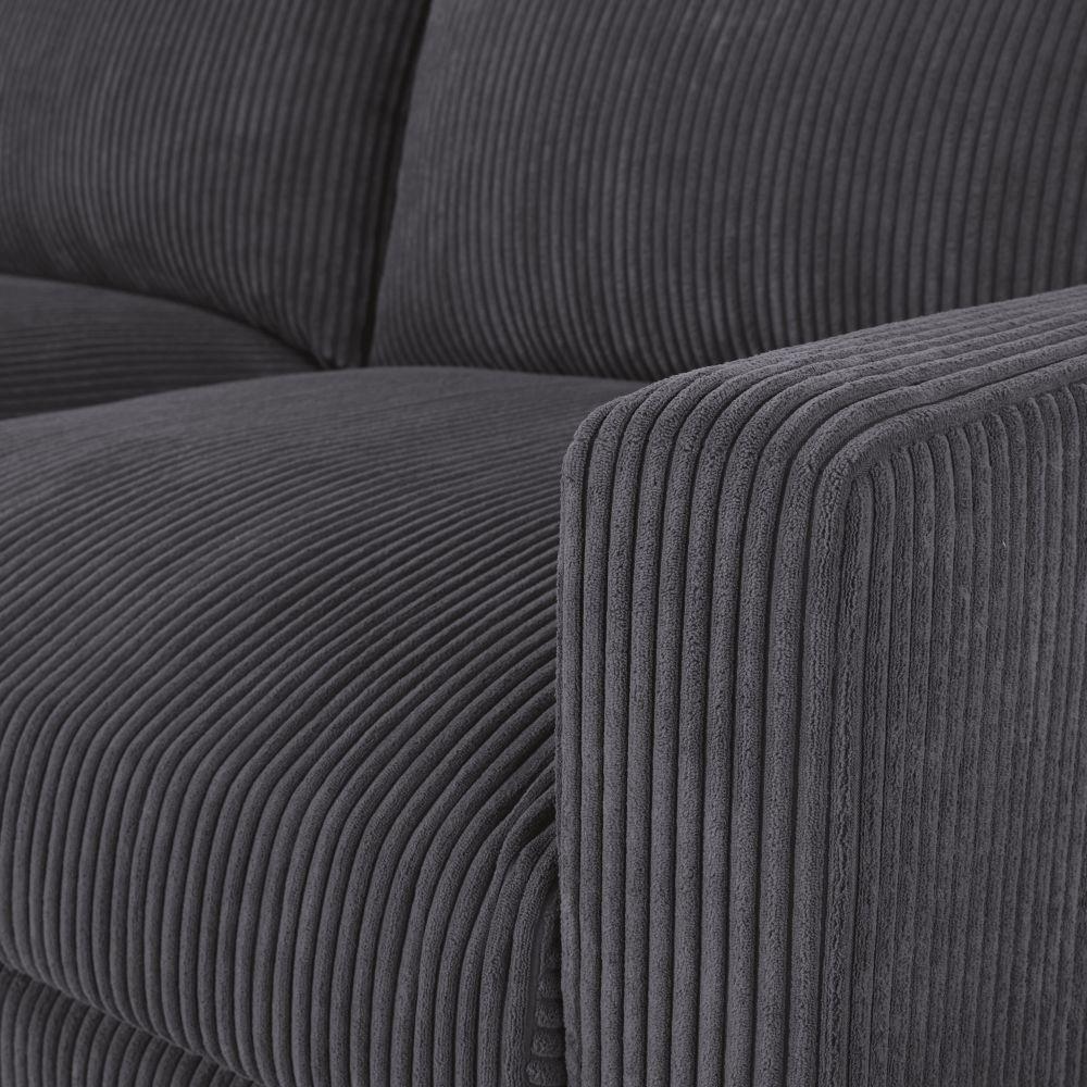 Canapé-lit 3 places en velours côtelé gris anthracite
