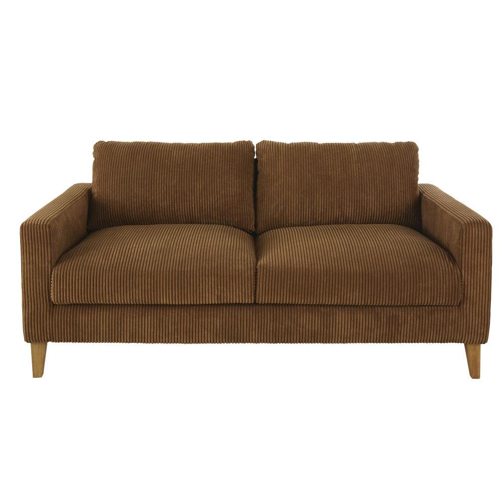 Canapé-lit 3 places en velours côtelé marron
