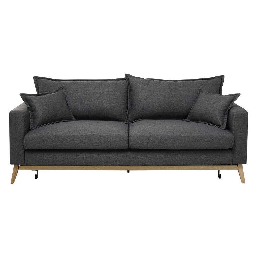 Canapé-lit 3 places gris ardoise