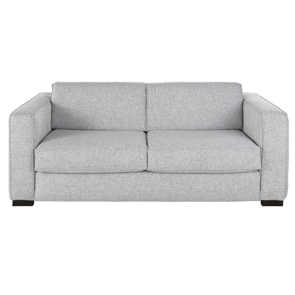 Canapé-lit 3 places gris clair chiné, matelas 14 cm