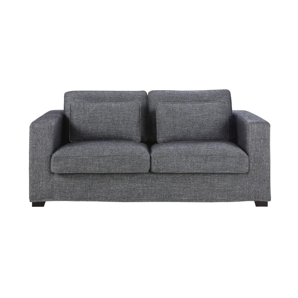 Canapé-lit 3 places gris foncé chiné, matelas 12 cm