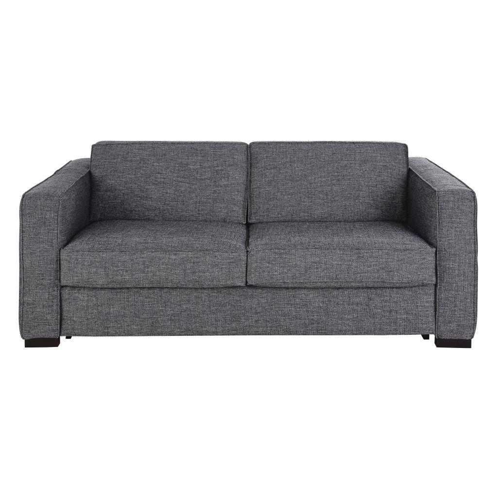 Canapé-lit 3 places gris foncé chiné, matelas 14 cm