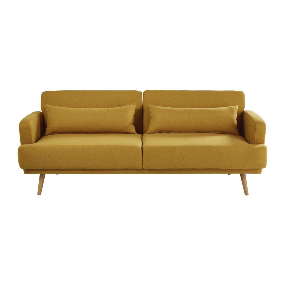 Canapé-lit 3 places jaune moutarde