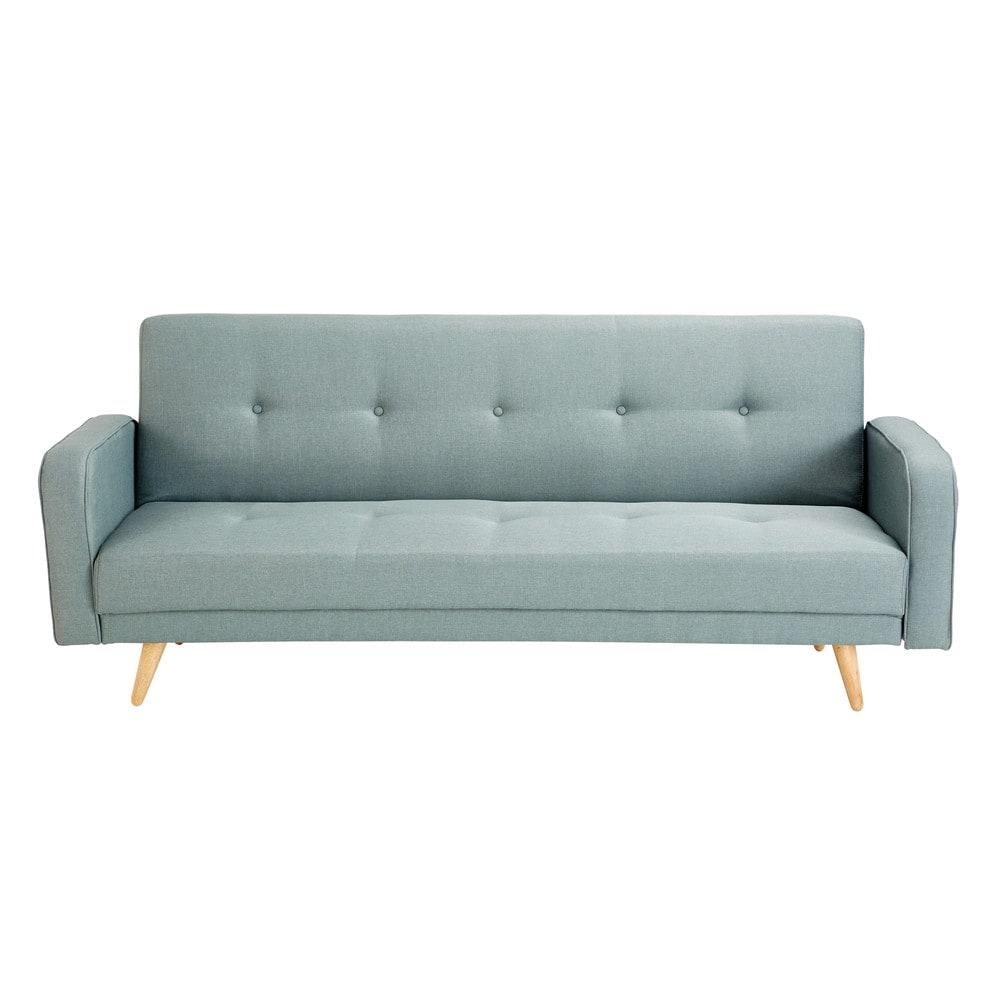 Canapé-lit 3 places vert d'eau