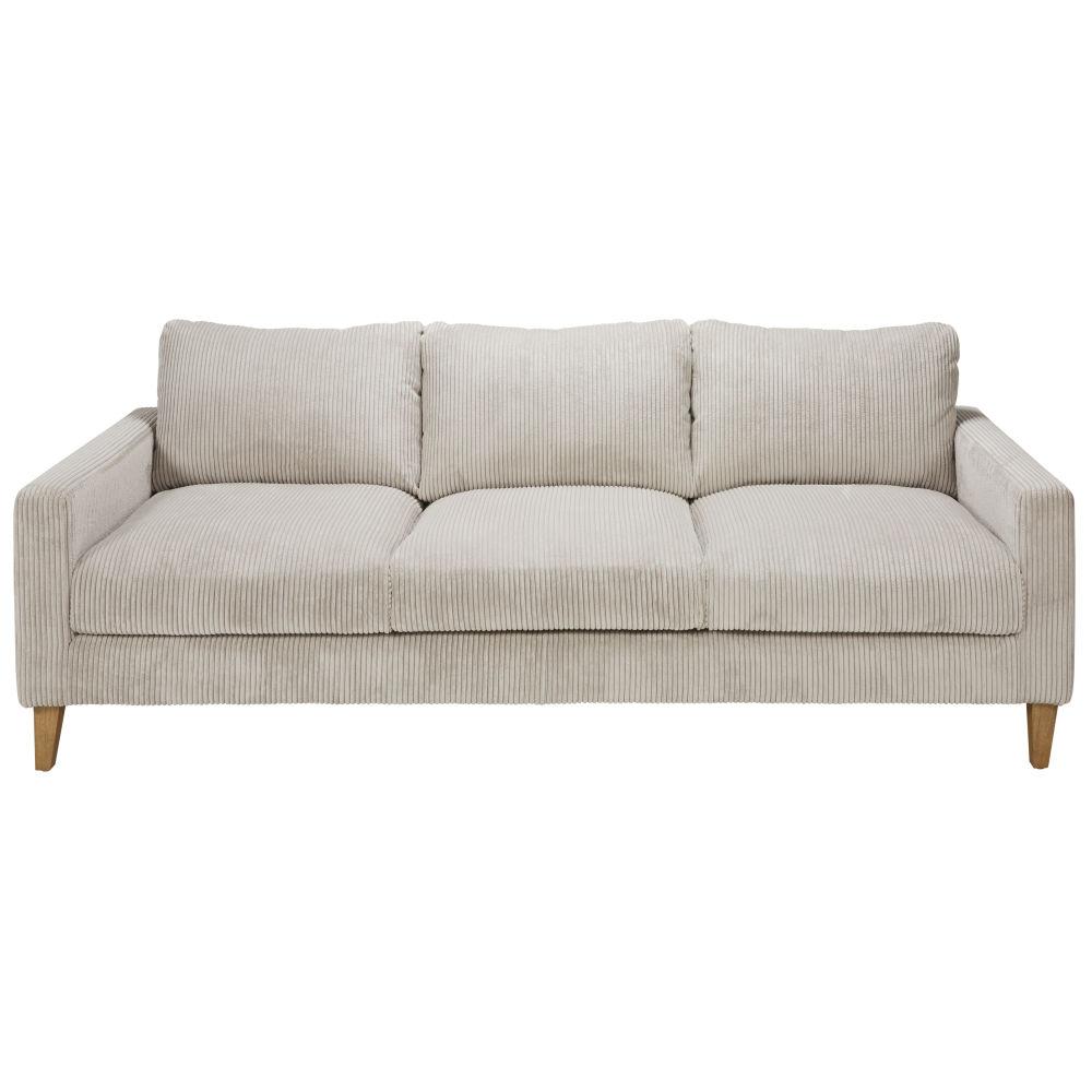 Canapé-lit 4 places en velours côtelé gris clair