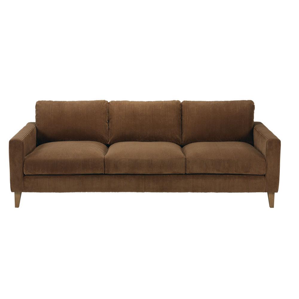 Canapé-lit 4 places en velours côtelé marron