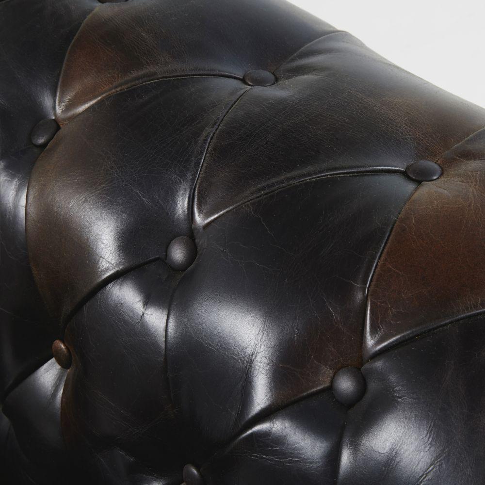 Canapé-lit capitonné 3 places en cuir moka