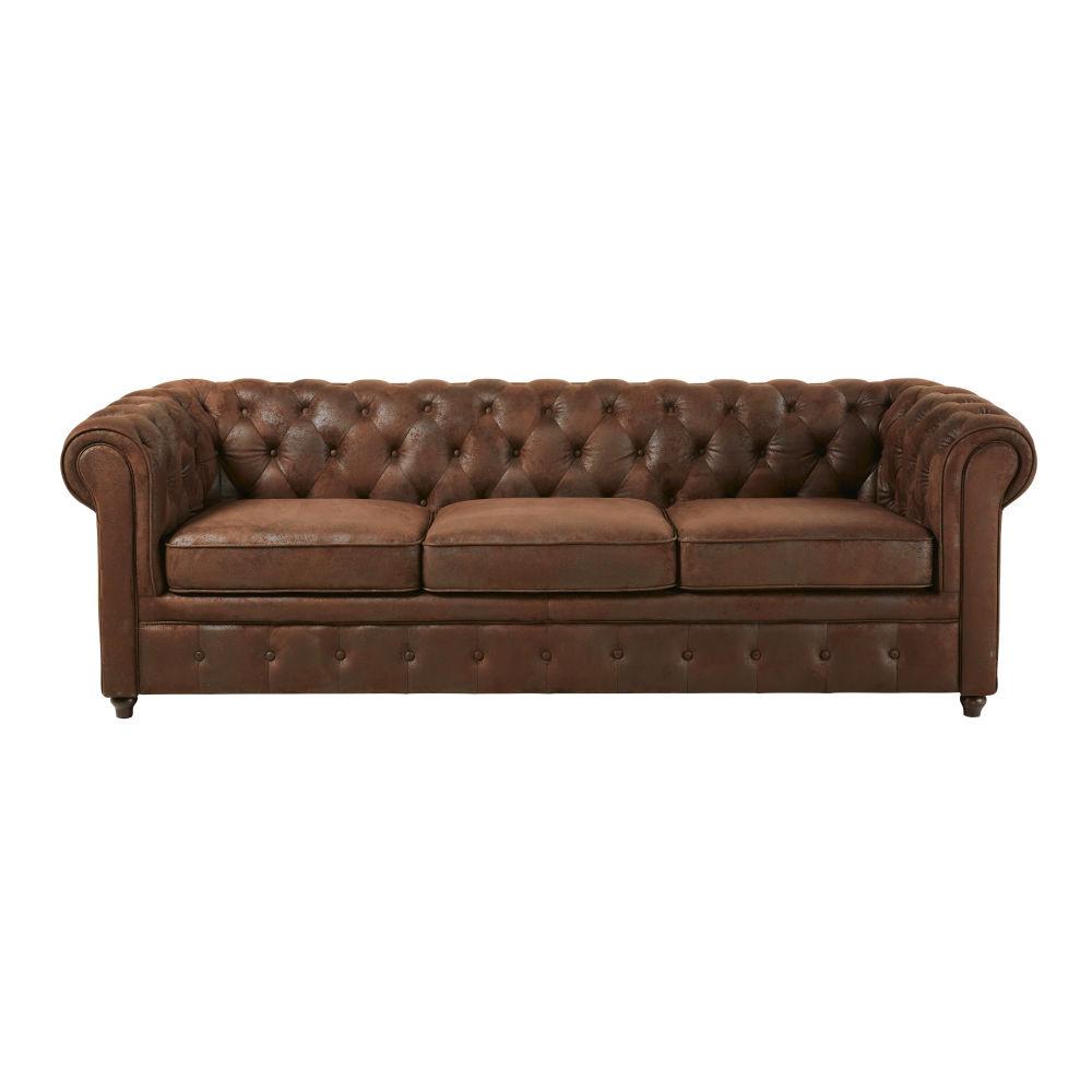 Canapé-lit capitonné 3 places en suédine marron