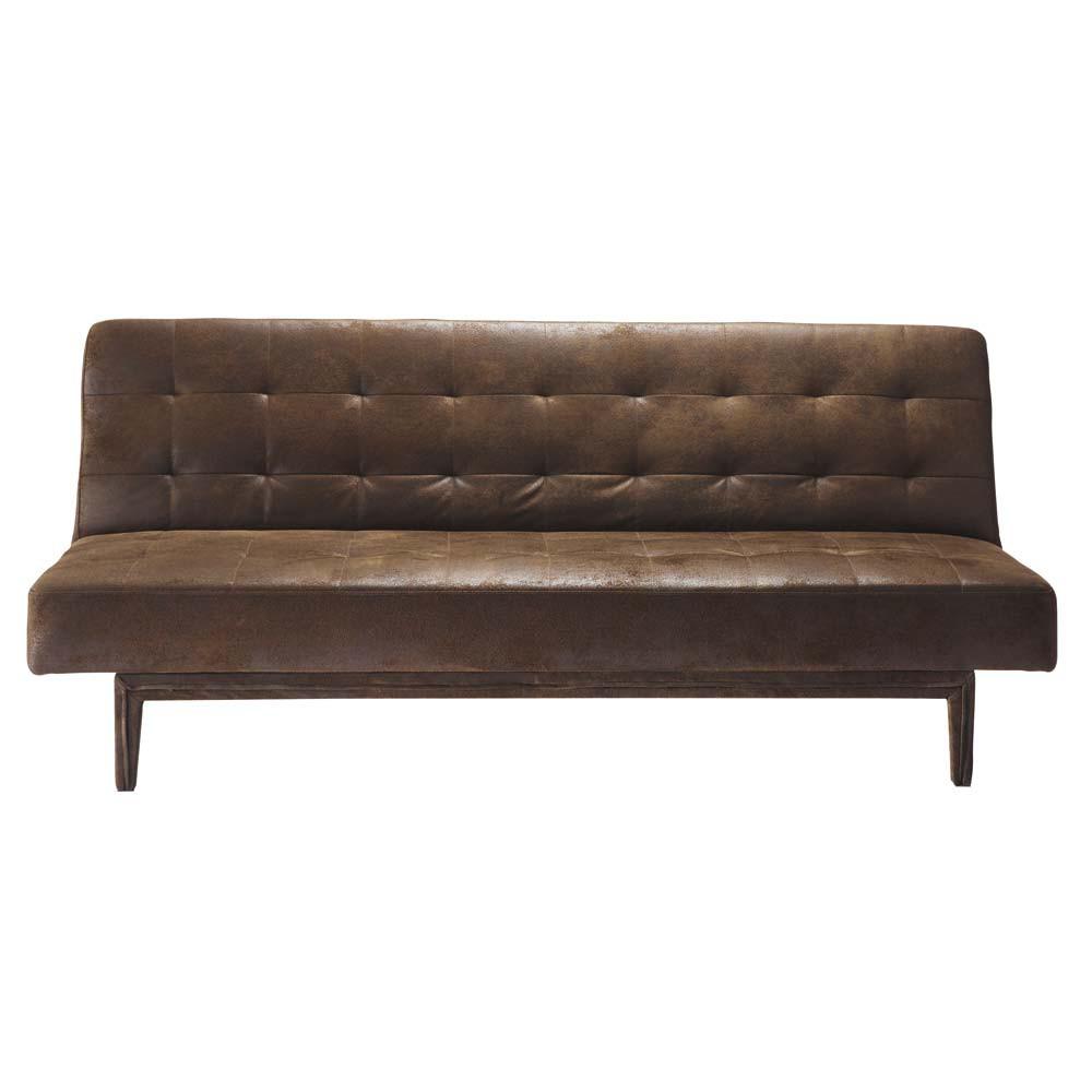 Canapé-lit capitonné 3 places marron