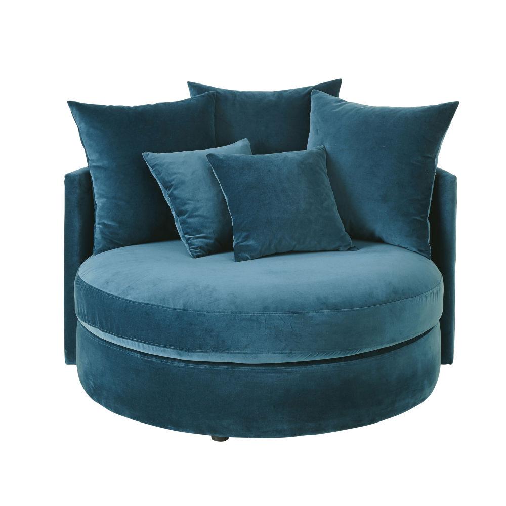 Canapé rond 1/2 places en velours bleu pétrole