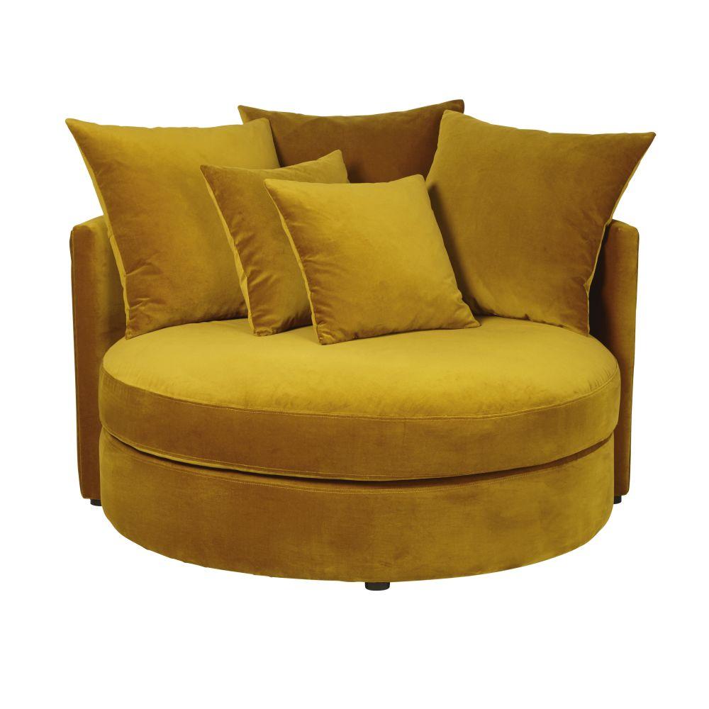 Canapé rond 1/2 places en velours jaune moutarde