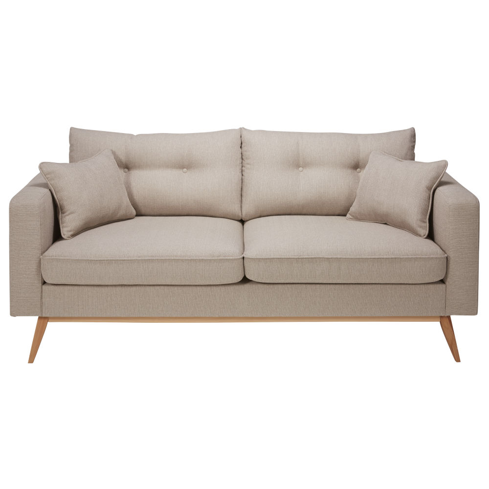 Canapé style scandinave 3 places beige