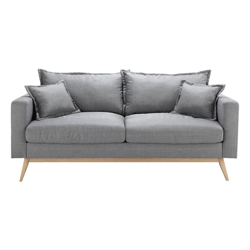 Canapé style scandinave 3 places gris clair