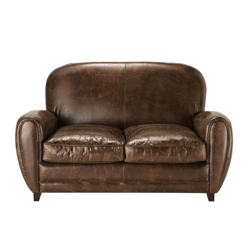 Canapé vintage 2 places en cuir marron
