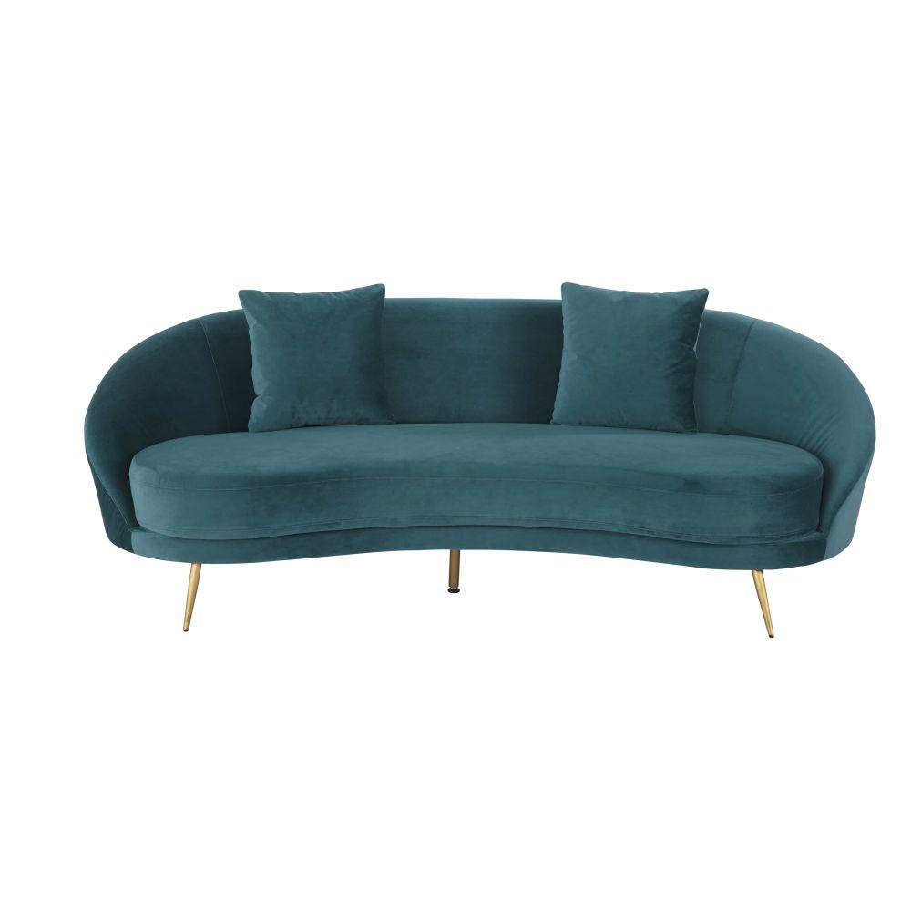 Canapé vintage 3/4 places en velours bleu