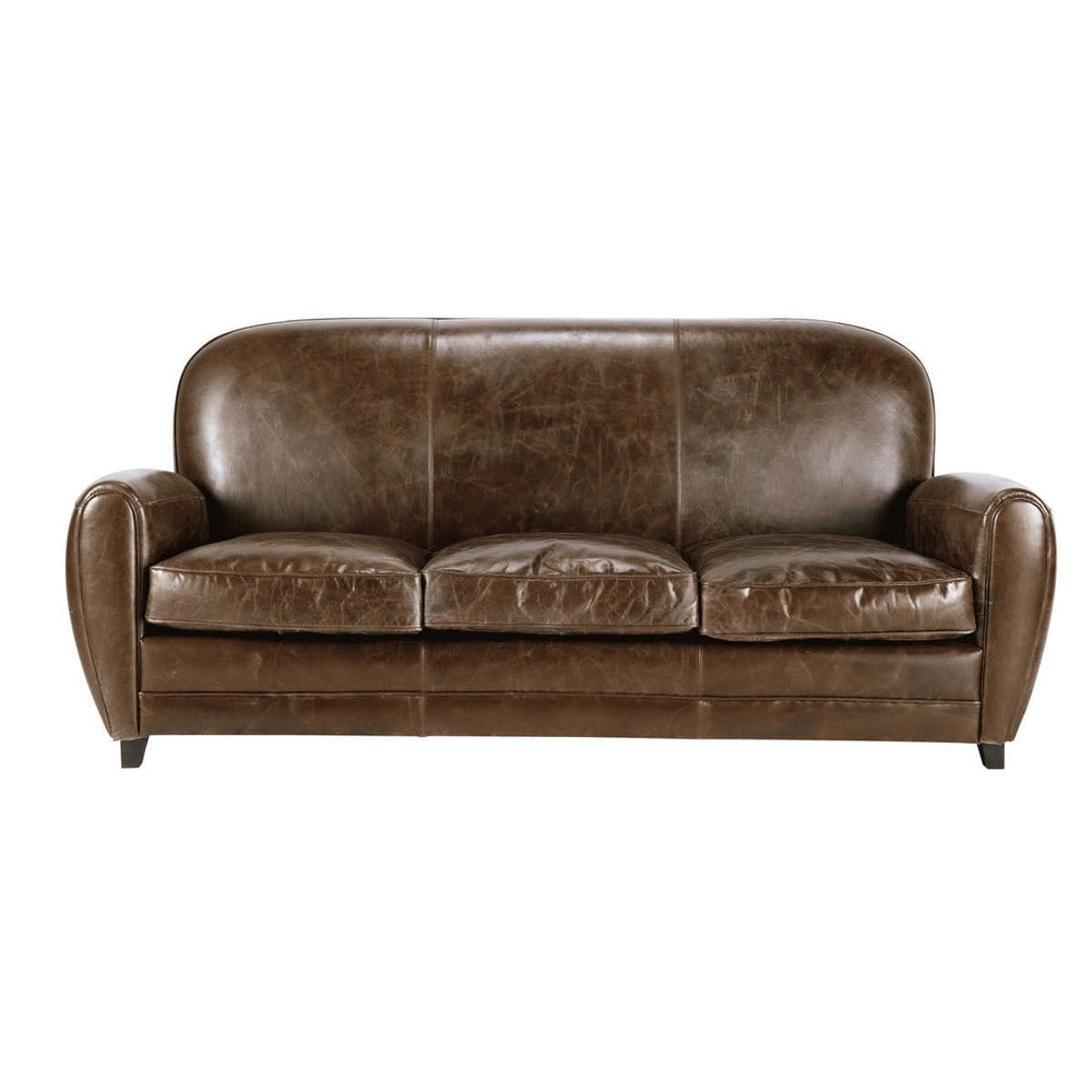 Canapé vintage 3 places en cuir marron