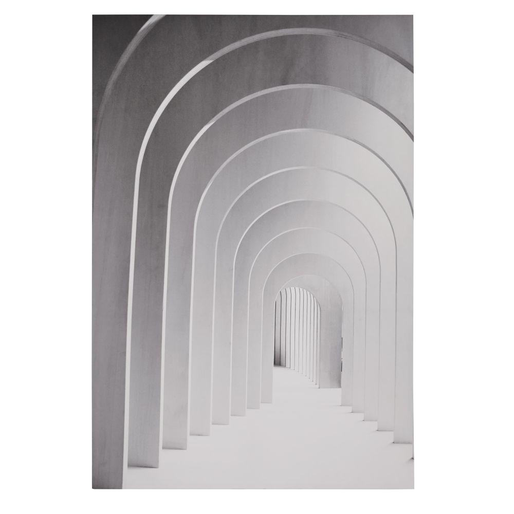 Canvas Met Grijs En Wit Geschilderde Bogen 100 X 150 Cm