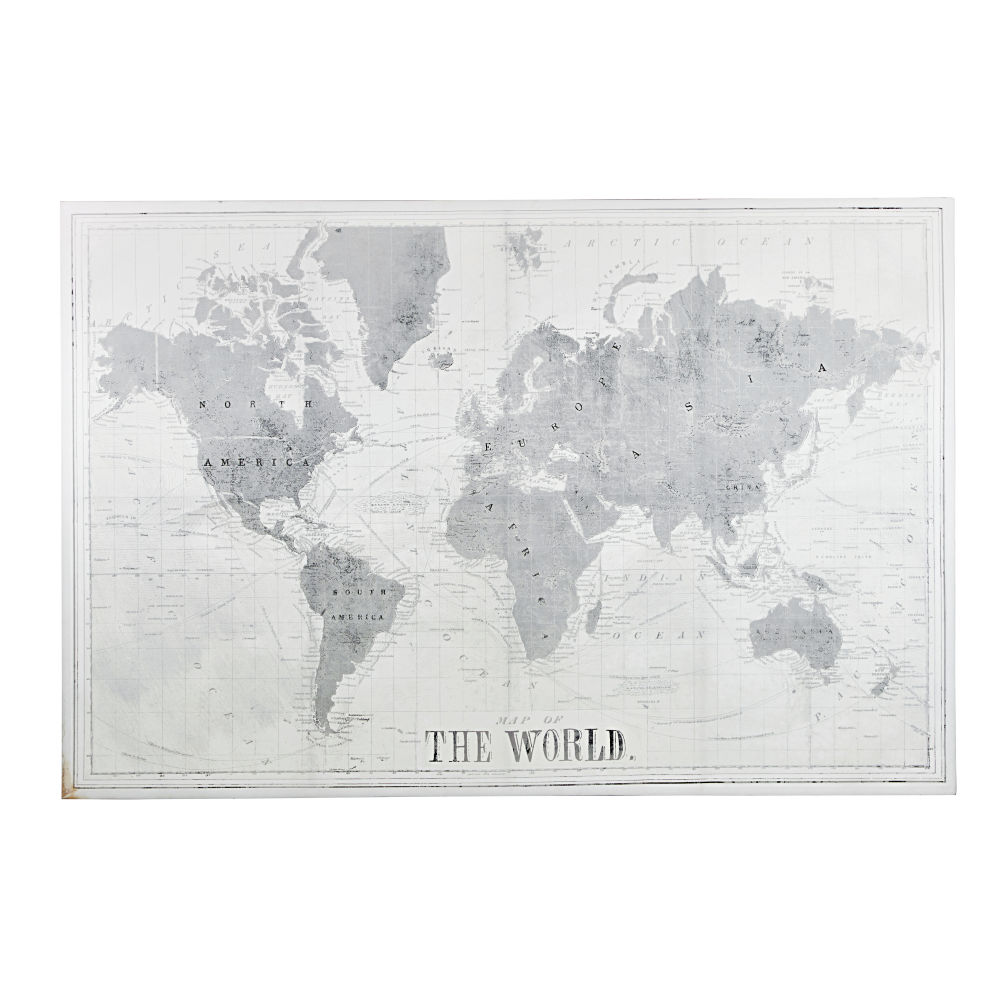Canvas Met Grijze En Witte Wereldkaartprint 180 X 120 Cm