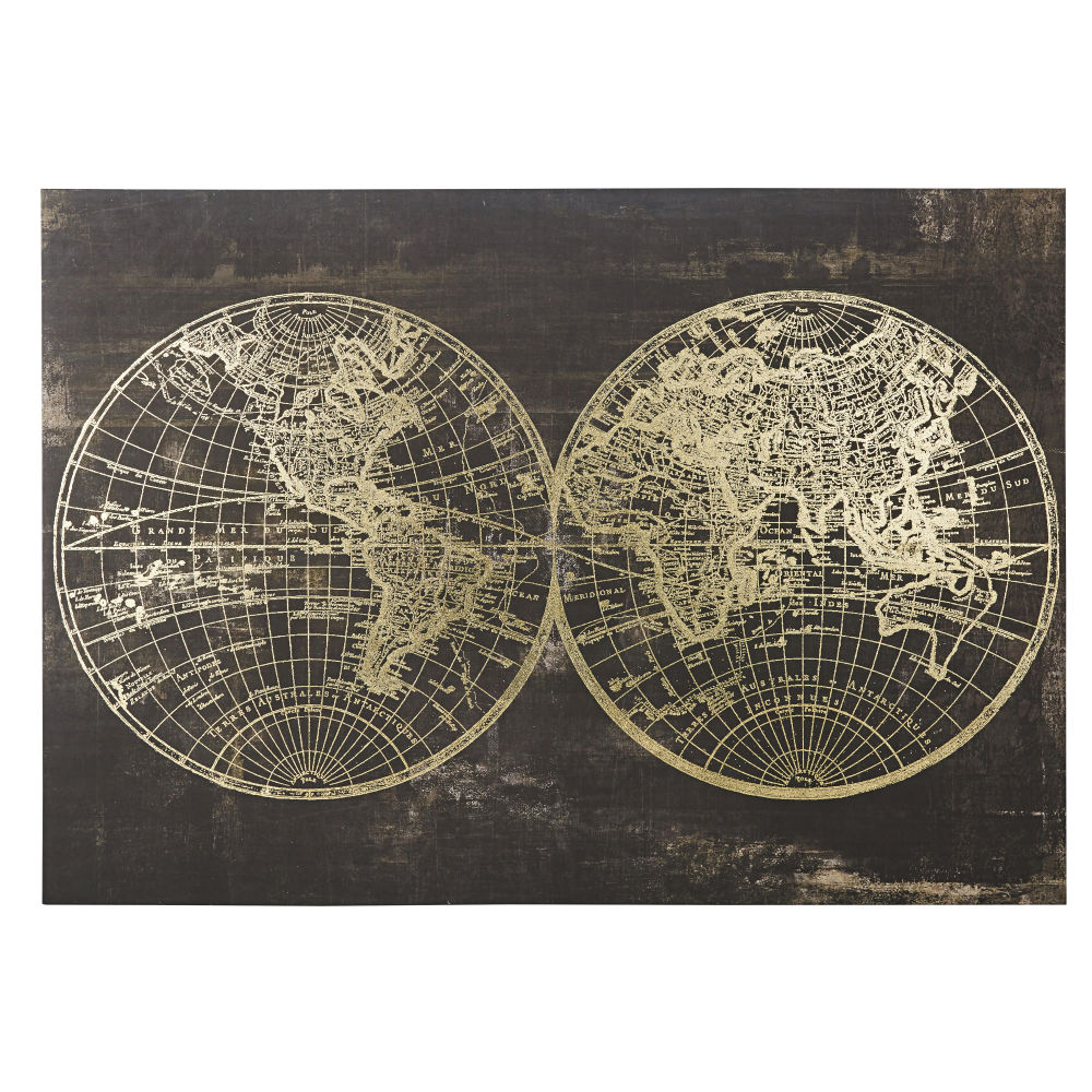 Canvas Met Zwarte En Gouden Wereldkaartprint 130 X 90 Cm